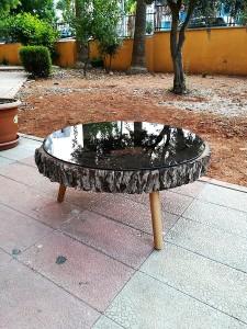 70 cm Meşe Kütüğü Camlı Orta Sehpa - QF02-25 - Thumbnail