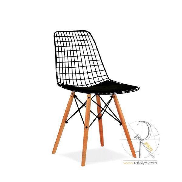 Ahşap Ayaklı Tel Sandalye - HGS02