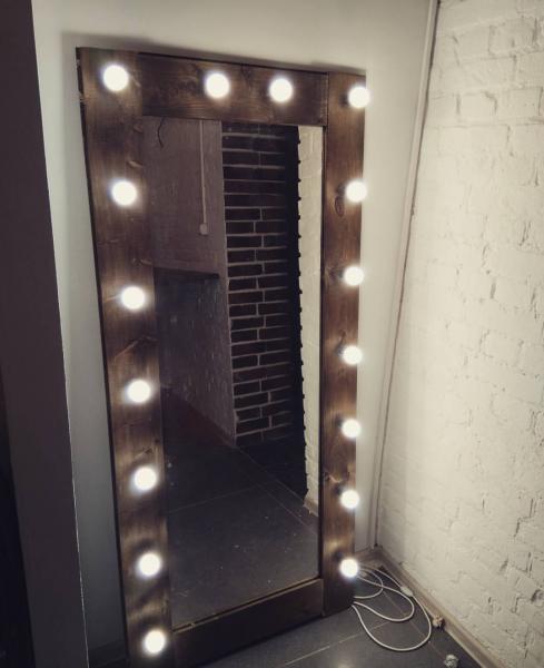 Ahşap Işıklı Boy Aynası - 60x140 - HGT162