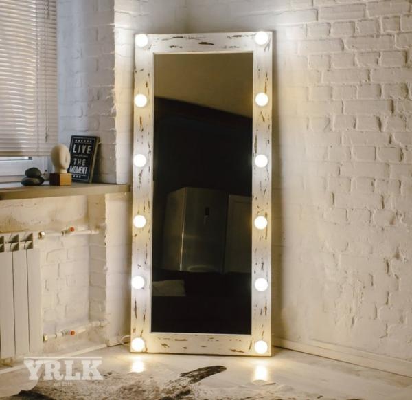 Ahşap Işıklı Boy Aynası - 60x140 - HGT164