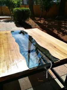 Ceviz Ağacı Kütüğü Camlı Nehir Orta Sehpa - BF02-03 - Thumbnail