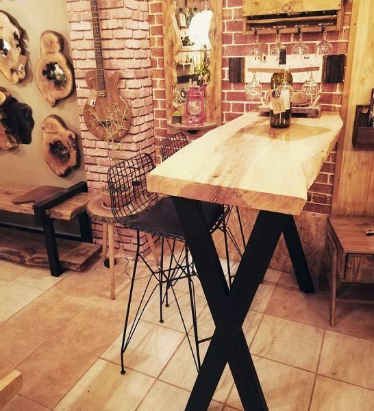 Doğal Ağaç Bar Masası - 120x55 cm - RTL157-108