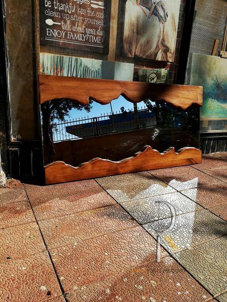Doğal Kenarlı Masif Ahşap Ayna - 120x60 cm - SA01-01