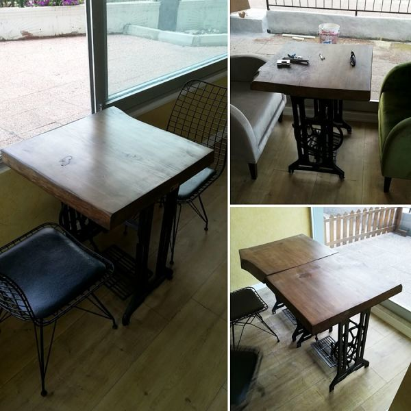 Doğal Kütük Kafe masası - 60x60 cm - RTL157-116