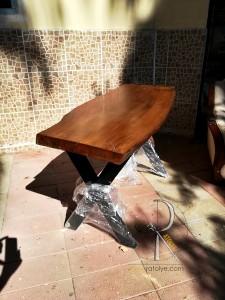 Doğal Kütük Masa . Tek Parça 140x50 cm - QF01-02 - Thumbnail