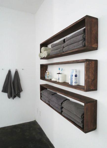 Masif Ahşap 120 cm 3lü Banyo Rafı - HGT81