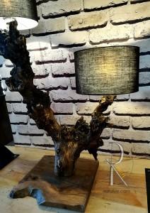 Meşe 2li Lambader Abajur 90 cm - BL02-07 - Thumbnail