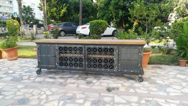 Metal Ahşap Tekerlekli TV Sehpası - Rta22