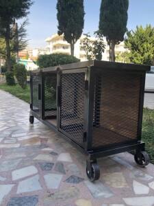 Metal Ahşap Telli Tekerlekli TV Sehpası - Rta13 - Thumbnail