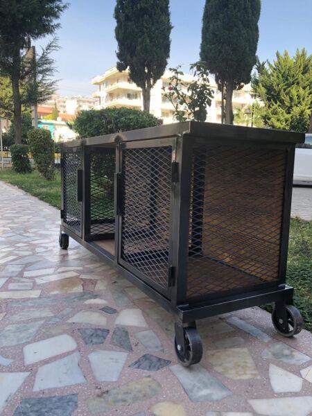 Metal Ahşap Telli Tekerlekli TV Sehpası - Rta13