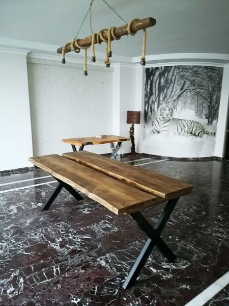 Saksılı Doğal Ağaç Kütük Masa 200 cm - RTL157-114