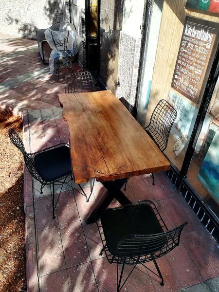 Tek Parça 4 Kişilik Kütük Masa ve Sandalye Takımı - CF01-06S