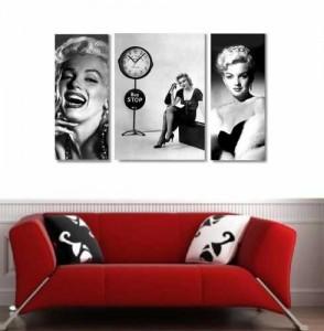 3 Parçalı Asimetrik Tablo Saat - Marilyn - Thumbnail