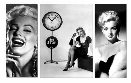 3 Parçalı Asimetrik Tablo Saat - Marilyn