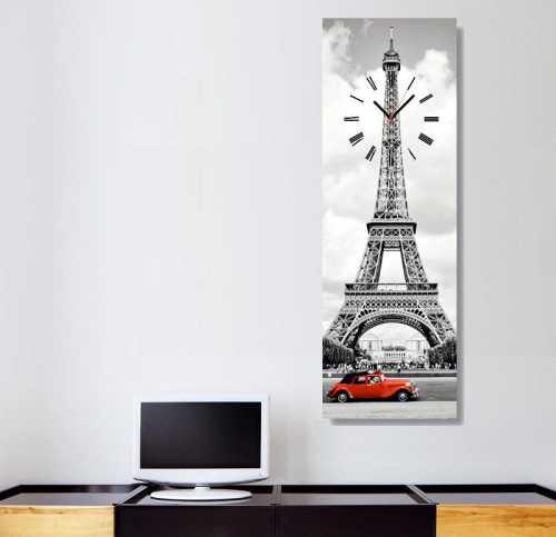 Panoramik Tablo & Saat - Eyfel Kırmızı * Dikey